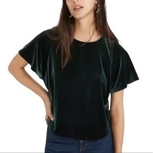 Madewell top short sleeves green velvet top Large